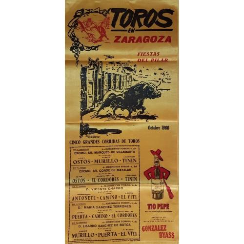 CARTEL TOROS SEDA ZARAGOZA DEL 12 AL 16 OCTUBRE 1966 MED 25X52 CTM