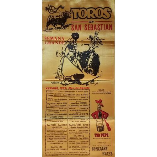 CARTEL TOROS SEDA SAN SEBASTIAN DEL 6 AL 27 AGOSTO 1967 MED 25X52 CTM