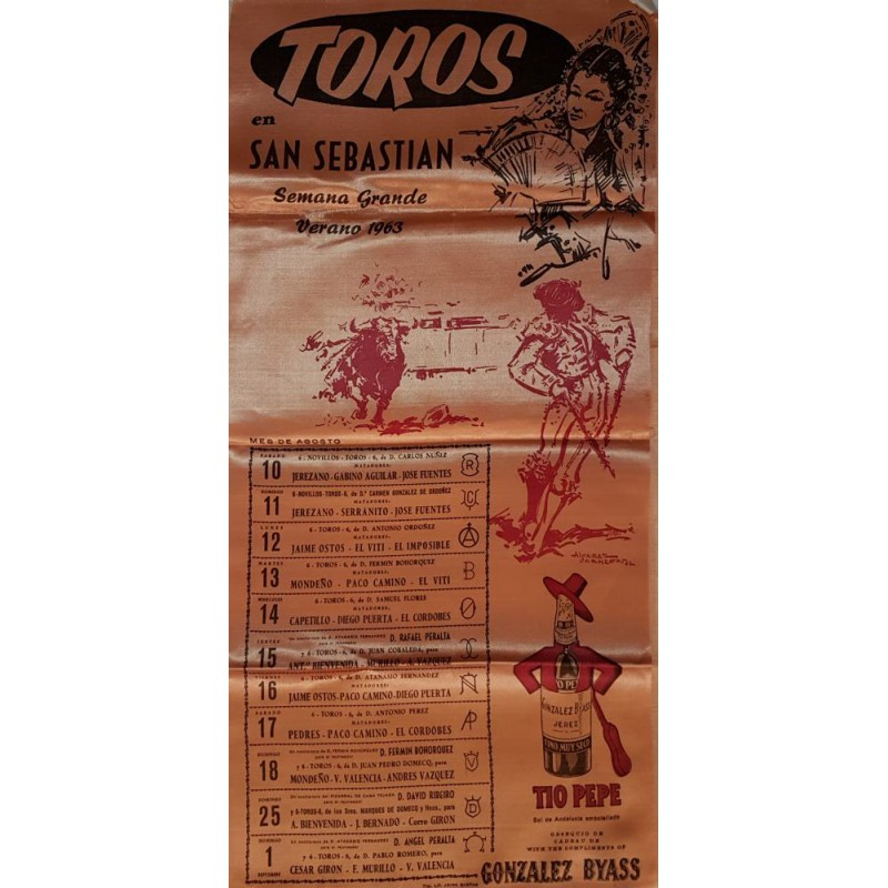 CARTEL TOROS SEDA SAN SEBASTIAN DEL 10 AGOSTO AL 1 SEPT. 1963 MED 25X52CTM