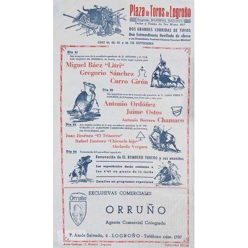 CARTEL TOROS SEDA LOGROÑO DEL 21 AL 24 DE 1957 MED 20X34 CTMS