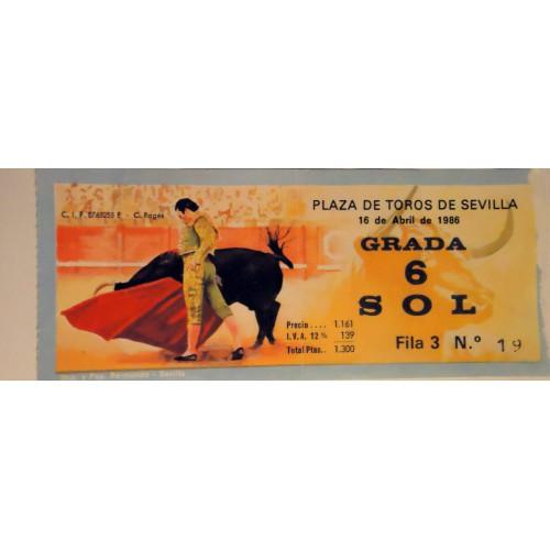 ENTRADA DE TOROS SEVILLA 16 ABRIL 1986