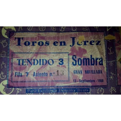ENTRADA DE TOROS JEREZ DE LA FRONTERA 13 SEPTIEMBRE 1958