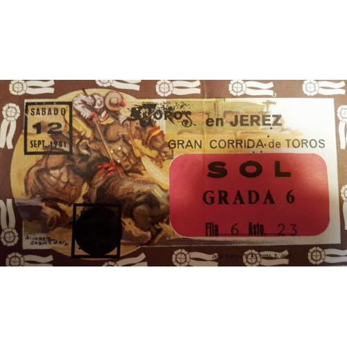 ENTRADA DE TOROS JEREZ DE LA FRONTERA 12 SEPTIEMBRE 1981