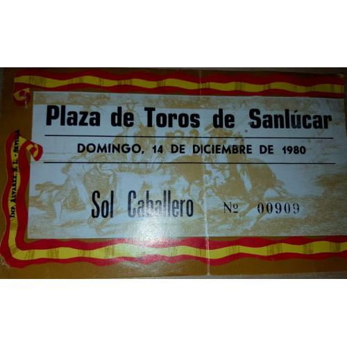 ENTRADA DE TOROS SANLUCAR DE BARRAMEDA 14 DICIEMBRE 1980