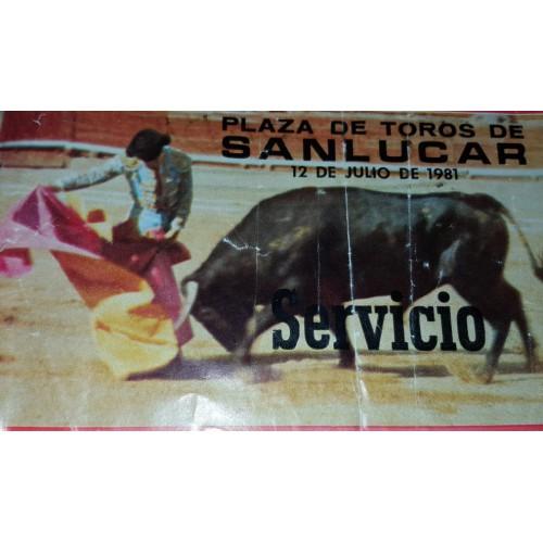 ENTRADA DE TOROS SANLUCAR DE BARRAMEDA 12 JULIO 1981