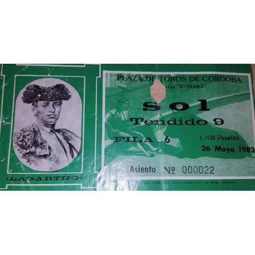 ENTRADA DE TOROS CORDOBA 26 MAYO 1983
