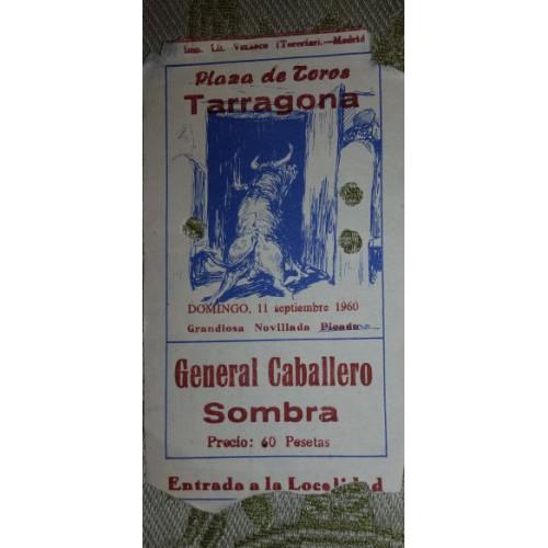 ENTRADA DE TOROS TARRAGONA 11 SEPTIEMBRE 1960