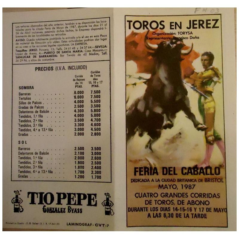 FOLLETOS DE MANO DE TOROS JEREZ DE LA FTRA