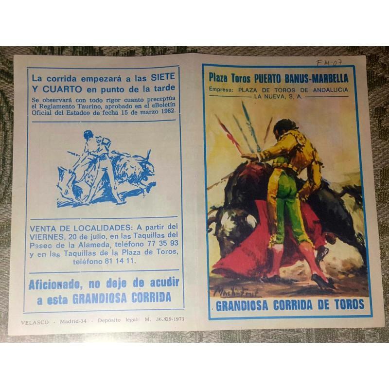 FOLLETO DE MANO PLA. TOROS PUERTO BANUS 1979 MED17X13CTM