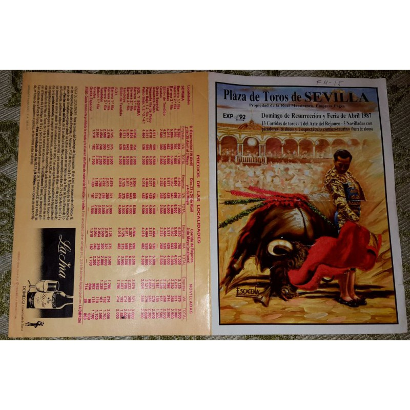 FOLLETO PLA DE TOROS DE SEVILLA 1987.- MED 22X16CTM