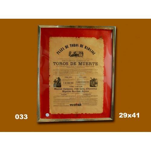 PLAZ DE TOROS DE BADAJOZ.-30 AGOSTO 1867.-  MED 50X40 CTM
