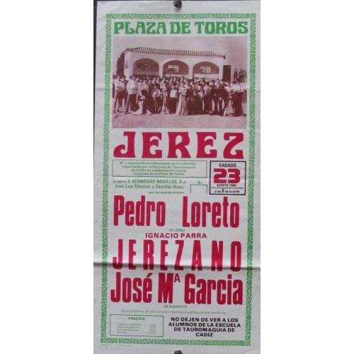PLAZA DE TOROS DE JEREZ 23 AGOSTO 1986,- MED 20 X 40 CTM