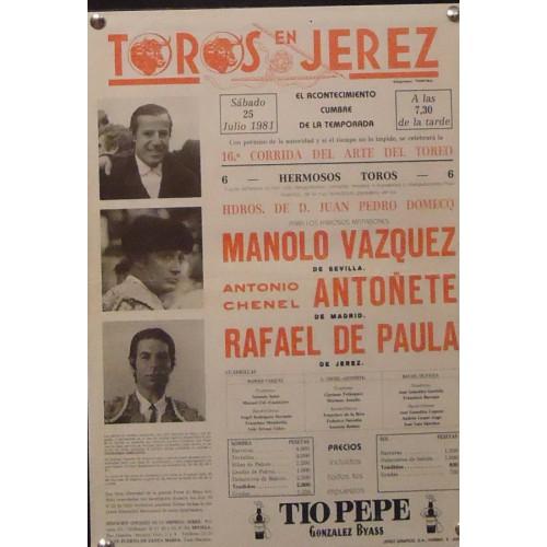 PLAZA DE TOROS DE JEREZ.-25 JULIO 1981 MED 24X 36 CTM