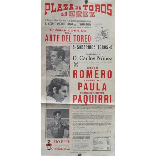 PLAZA  DE TORS DE JEREZ.- 28-JULIO-1974.- MED 20X50 CTM