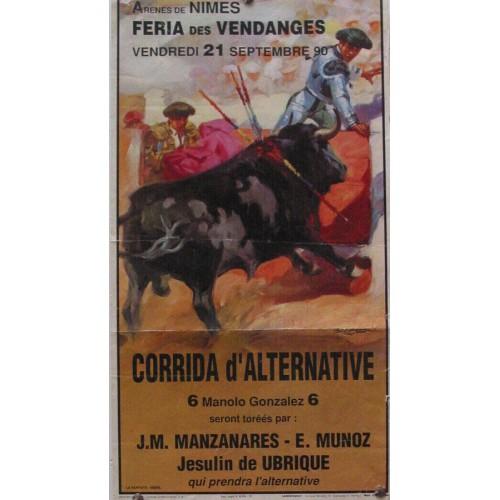 PLAZA DE TOROS DE NIMES 21 SEPTIMNRE 1990 MED 24X35 CTM